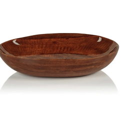 "Small Gabonese Oval Mango Bowl with Walnut Enamel L7"" W8"" H2"""