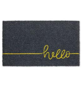 Hello Doormat - Grey & Yellow