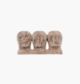 "Grey/Brown Ancient Head Art Piece L11"" W3.5"" H5.5"""