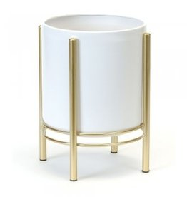 """Small White and Gold Floor Planter D7.5"""" H11"""""""