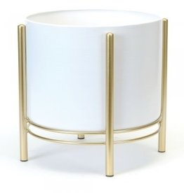 """Large White and Gold Floor Planter D11"""" H11.75"""""""