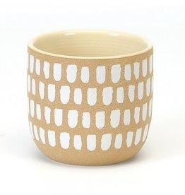 "Small White Brush Strokes Pot D4.5"" H4"""