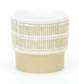 "Medium White/Beige Decor Pot D5.5"" H5.25"""
