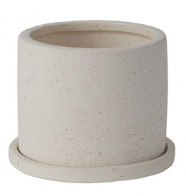 """Small White Easton Pot with Saucer D5"""" H3.25"""""""