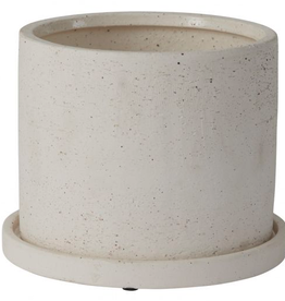 """Large White Easton Pot with Saucer D7.5"""" H5.75"""""""