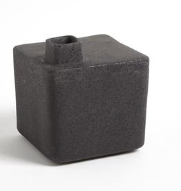 "Medium Black Square Chimney Vase H6.25"""