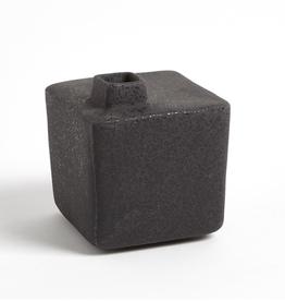 "Small Black Square Chimney Vase H5.75"""