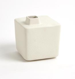 "Small White Square Chimney Vase H5.75"""