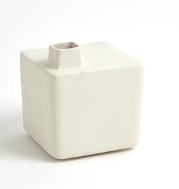 """Medium White Square Chimney Vase H6.25"""""""