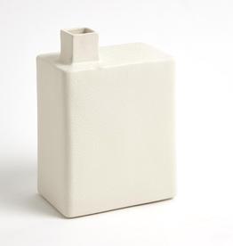 "Large White Square Chimney Vase H9.5"""