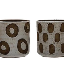 White Terracotta  Patterned  Pot, 2 Styles