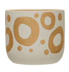 """White Stoneware Planter with Gold Detail D6.5"""""""