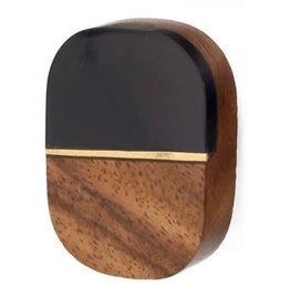 Brown / Black Oval Knob with Gold Line