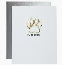 Sympathy Paw Print Papper Clip Card