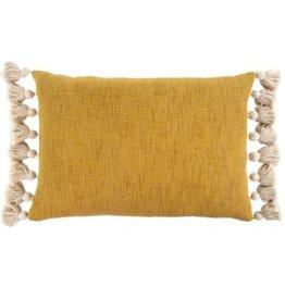 """Mustard Bora Tassel Pillow L16"""" W24"""""""