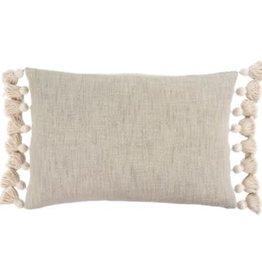 """Grey Bora Tassel Pillow L16"""" W24"""""""