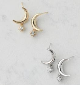 Lunar Post Earrings - Silver