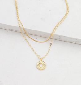 Layered Sunburst Necklace - Gold