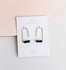 Gemstone Drop Earrings - Black Onyx