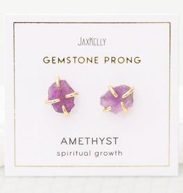 Gemstone Prong Earrings - Amethyst