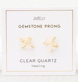 Gemstone Prong Earrings - Clear Quartz
