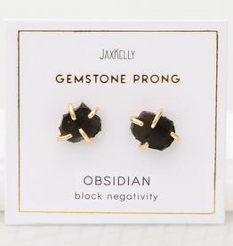 Gemstone Prong Earrings - Obsidian