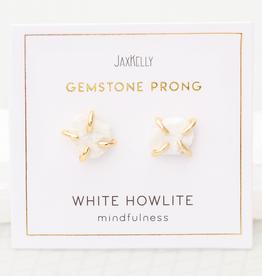 Gemstone Prong Earrings - White Howlite