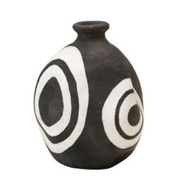 """Black with White Terracotta Vase with Circles H5.5"""""""