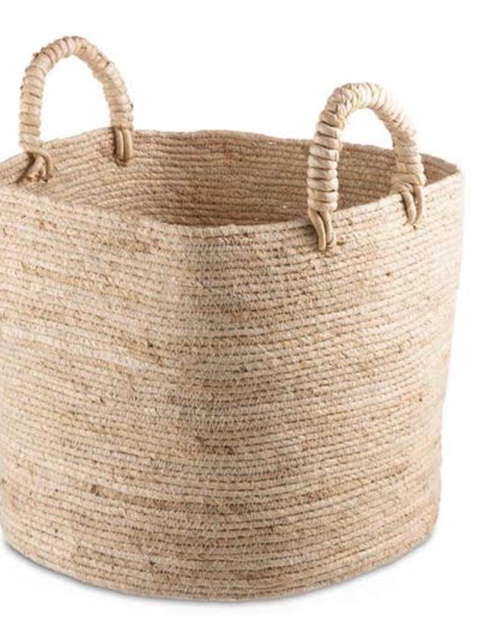 "Small Natural Maiz Basket with Handles 10"""