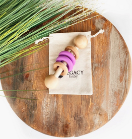 Lilac Wood and Silicone Rattle