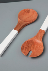 "Mango Wood and White Serving Set L14"""