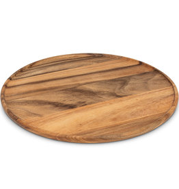 """Large Round Acacia Tray with Lip D17"""""""