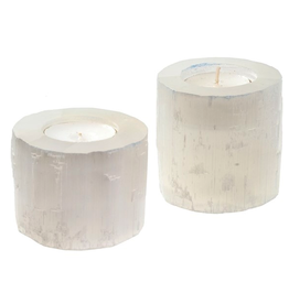 """Small Selenite Candle Holder D2"""" H2.75"""""""
