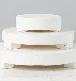 "Medium Bianca White Round Trivet D14"" H4"""