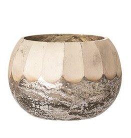 "Antique Silver Mercury Glass Tealight Holder D3"" H2.25"""
