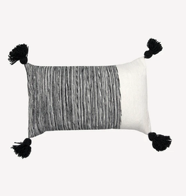 """Charcoal Dipped Moroccan Pom Pom Pillow L20"""" W12"""""""