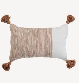 "Beige Morrocan Dipped Pom Pom Pillow L20"" W12"""