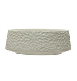 "Speckled Matte White Planter Bowl with Embossed Floral Design D8.25"" H3"""