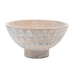 """Whitewashed Mango Wood Footed Bowl with Circles D11.5"""" H6"""""""