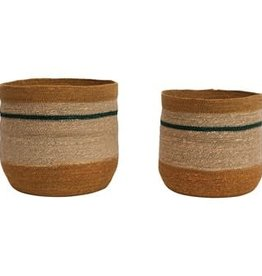 """Small Seagrass Basket with Green Stripe D10"""" H10"""""""