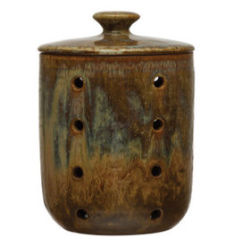 """Blue and Brown Reactive Glaze Jar with Lid and Holes D5"""" H6.75"""""""