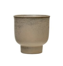 """Champagne Footed Stoneware Planter D6.5"""" H6.5"""""""