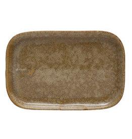 "Large Mustard Reactive Glaze Plate L8.5"" W5.75"""