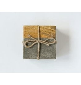 """Square Cement and Wood Coasters L4"""" - Set of 4"""