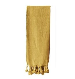 """Gold Cotton Throw with Pom Poms L60"""" W50"""""""