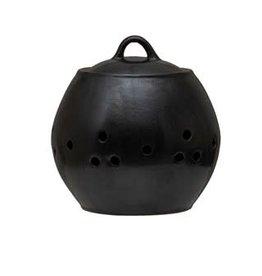 "Matte Black Stoneware Garlic Keeper D6"" H6.25"""