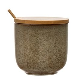 """Brown Reactive Glaze Stoneware Jar with Bamboo Lid and Spoon D4.75"""" H4.75"""""""