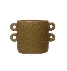 "Matte Sand Stoneware Planter with Handles D3.75"" H3.75"""