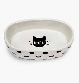 White Monty Oval Cat Bowl
