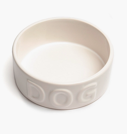 "Large White Classic Dog Bowl D8.5"" H3.25"""